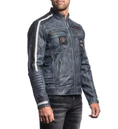 Affliction Leather Jacket Perforated Detail at Sleeves Front Panels and Collar Custom Print Inside Back Lining Indigo Blue Wash Affliction Clothing, Motorbike Jackets, Leather Men, Leather Jackets, Winter Coat, T Shirts, Outerwear Jackets, Mens Fashion, My Style