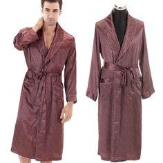 2013 NWT male men's autumn winter male silk satin long sleeve sleepwear elegant sleepwear homewear bath robe plus size 2XL-inRobes from Apparel  Accessories on Aliexpress.com $32.90