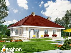 Dom w lotosach 2 Bungalows, Red Roof House, Modern Bungalow House, House Front Design, Modern Farmhouse Plans, Model Homes, Home Fashion, Exterior Design, Outdoor Structures