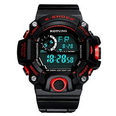 Gaintin Red Big Kid Teens Boys Backlight Digital Large Face Watches ** Continue to the product at the image link.