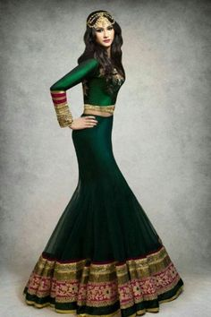 vs: color- Dark green lehenga, stunning, awesome, indian bridal dress, Outfit by:Kajal's Couture Indian Attire, Indian Ethnic Wear, Indian Style, Pakistani Outfits, Indian Outfits, Green Lehenga, Lehenga Choli, Anarkali, Ethnic Fashion