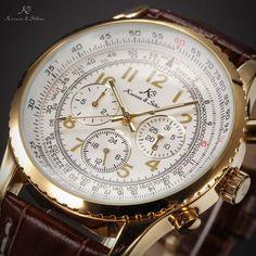 KS Luxury Day Date Automatic Mechanical Brown Leather Men s Aviator Wrist Watch