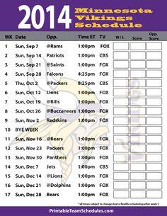 2014 Minnesota Vikings Schedule