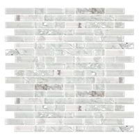 Snow Stria with Glass Stone Mosaic Tile - 12 x 12 in. - The Tile Shop Stone Mosaic Tile, Mosaic Tiles, Subway Tile Backsplash, Backsplash Ideas, Tile Ideas, Real Kitchen, Kitchen Reno, Kitchen Backsplash, The Tile Shop