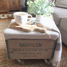 See my DIY on making this vintage crate into a rolling ottoman.