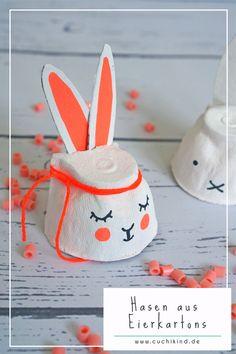 Kleine, schnelle Osterbastelei für Kinder oder mit Kindern. Bunte Hasen und Miffy aus Eierkartons. #ostern #osterdiy #osterhase #eierkarton #miffy