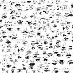 Black & White Face Pattern wallpaper