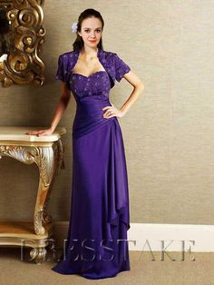 Cheap A-line Sweetheart Floor-length Chiffon Beading Purple Mother of the Bride Dresses