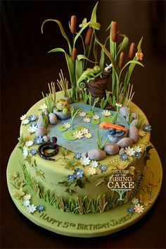 Pond cake maybe for a kids cake at a wedding. Gorgeous Cakes, Pretty Cakes, Cute Cakes, Amazing Cakes, Crazy Cakes, Fancy Cakes, Fondant Cakes, Cupcake Cakes, Pond Cake