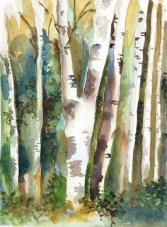 Forêt, aquarelle par Annie Collette Annie, Painting, Birches, Drill Bit, Watercolor Painting, Paint, Painting Art, Paintings, Draw