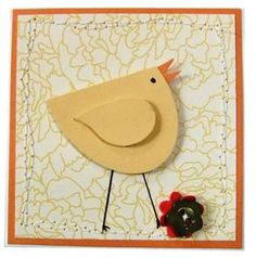 Stampin' Up! ...handmade Little Easter Chick gift enclosure made with Stampin' Up! Extra Large Oval Punch and wing from bird builder punch ... luv it!