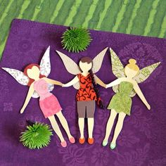 Disney Fairy Paper Pals - Kids can use the provided templates to create the familiar trio featured here, or they can tap into their imaginations to fashion their very own strings of sprites.