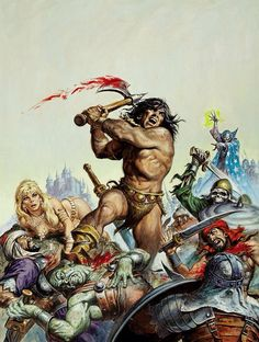 Earl Norem Savage Sword of Conan Cover Painting Original Art (Marvel, Conan does what he does best - Available at 2008 August Vintage Comics &. Fantasy Story, High Fantasy, Sci Fi Fantasy, Marvel Comics, Conan Comics, Silver Surfer, Cthulhu, Comic Books Art, Comic Art