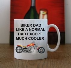 Ceramic Mug with Biker Dad Logo and by LittleMonkeyCasuals on Etsy