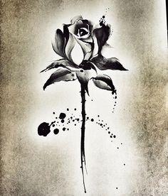Mini Tattoos, Flower Tattoos, Body Art Tattoos, Sleeve Tattoos, Small Tattoos, Single Rose Tattoos, Black Rose Tattoos, Tattoo Sketches, Tattoo Drawings