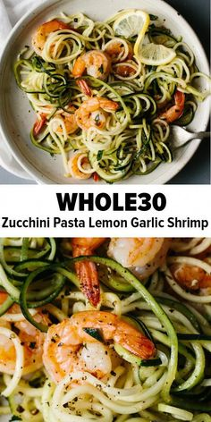 Diet Recipes Zucchini noodles pasta with lemon garlic shrimp is a delicious, gluten-free, paleo version of shrimp scampi and linguini. Traditional pasta is replaced with zucchini noodles or zucchini pasta for a lighter, healthier, paleo recipe. Whole Foods, Whole Food Recipes, Healthy Recipes, Gluten Free Recipes For Lunch, Healthy Options, Health Food Recipes, Healthy Foods, Healthy Alternatives, Clean Food Recipes