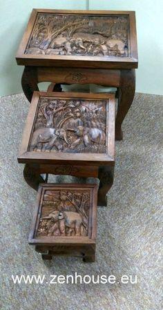 Drevené stolíky JÁVA, masív - set 3 ks - zvýhodnená cena :: ZEN House exotický nábytok