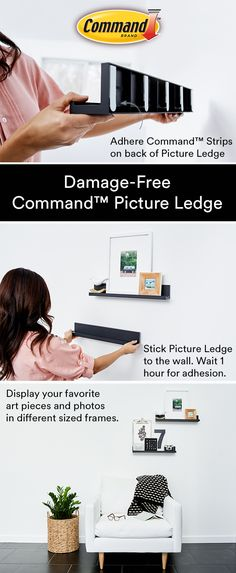 Command™ Picture Ledge helps you display your decor, damage-free. Shelves are a great way to add dimension to your gallery walls. - Curtains World Command Hooks, Command Strips, My New Room, My Room, Home Renovation, Picture Ledge, Picture Shelves, D House, Diy Bedroom Decor