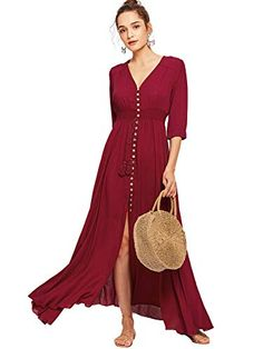 9bd10fa6200 Milumia Women s Button Up Split Floral Print Flowy Party Maxi Dress X-Large  Burgundy at
