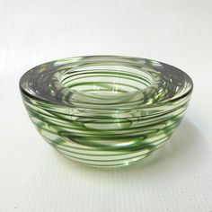 Kosta Boda Atoll votive/tea light candle holder/small bowl/dish. Glass, Swedish. Moss/ocean green swirl/spiral. Ashtray/candle holder. by CocoCollectables on Etsy
