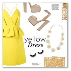 """Yellow Dress"" by christinacastro830 ❤ liked on Polyvore featuring Delpozo, Giuseppe Zanotti, Charlotte Olympia, Kate Spade and Tory Burch"