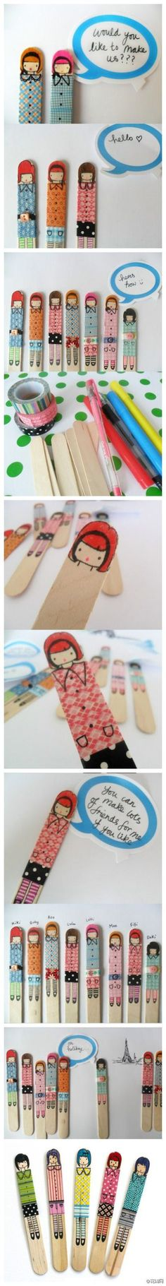 popsicle people (using washi tape)