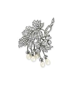 An antique pearl and diamond brooch #christiesjewels