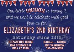 Printable Firework Birthday Invitation / 4th by RiverMamasDesigns