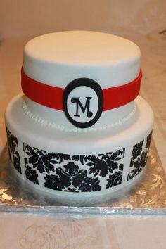 Sprinkle Splash: Monogram Damask Cake.    We service the Greater New York Area call us today 800-764-6106 or info@SprinkleSplash.com