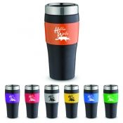 The 16 oz No-Slip-Grip Tumbler features smooth rubber accents with bold color metallic panel, double wall insulation, stainless lid with slide lock prevents spills, no slip bottom. Gift box included.