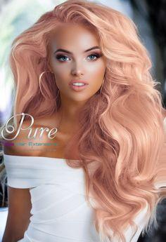 Amazing peach hair extensions.   #pastelhair #pastelpinhairextensions #pastelhair #apricothaircolour Pastel Blonde, Beige Blonde, Silver Blonde, Pastel Hair, 100 Human Hair Extensions, Tape In Hair Extensions, Light Strawberry Blonde, Strawberry Blonde Highlights, Hair