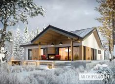 Simon IV G2 - projekt domu - Archipelag Modern Bungalow Exterior, Modern Lake House, Modern Farmhouse Exterior, House Built Into Hill, Stone Houses, Outdoor Rooms, Home Fashion, Ideal Home, My House