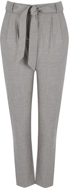 Womens light grey belted peg trousers from Oasis - £38 at ClothingByColour.com