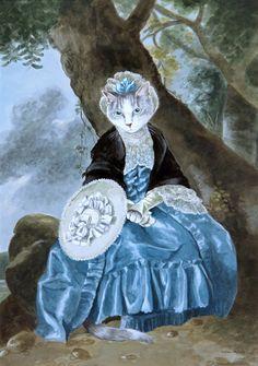 Mrs. Oswald (Johan Joseph Zoffany) by Susan Herbert. Anthropomorphic cat lady.