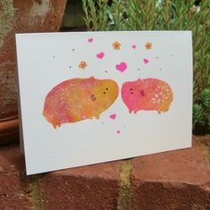 Wedding Card, Quirky Guinea Pig couple, original hand-painted design, eco £2.50