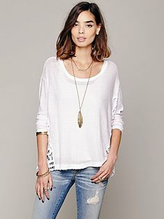 have it.. love it!  Free People Boxy Pieced Lace Pullover