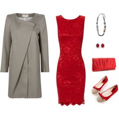 Red and Gray night out, created by tishgear on Polyvore