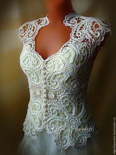 Beautiful Irish Crochet top Patterns Free Dancox for Irish Lace Crochet Motifs, Freeform Crochet, Irish Crochet, Crochet Pattern, Crochet Shirt, Crochet Jacket, Crochet Top, Crochet Wedding Dresses, Dress Wedding