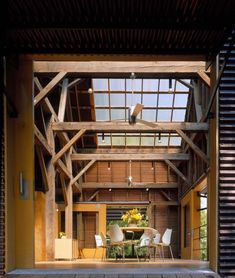 "Recycled-corrugated copper over salvaged barn frame; ""Willoughby Design Barn"" by El Drado Inc"