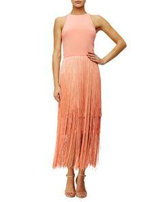 Sleeveless+Fringe+Column+Dress,+Sunset+by+Tamara+Mellon+at+Neiman+Marcus.