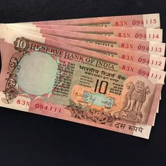 1980's 10 Rupee note - 5 runs Peacock at the back - Beautiful note. $5 EACH