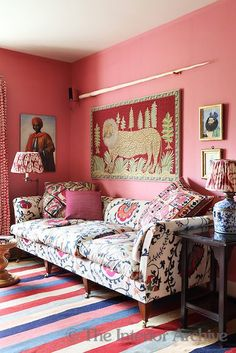 The walls of the colourful den are painted in Indian pink and the room is furnished with a crewel work sofa Stylish interiors for PR with Perkes stylish decors interior home houses prwithperkes 74942781287821259 Indian Interiors, Colorful Interiors, Deco Boheme, Pink Room, Pink Walls, Interiores Design, Interior Inspiration, Room Inspiration, Decoration