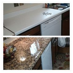 Waterproof Durable Decorative Counter Top Update Makeover Cover Self Adhesive Peel and Stick Gold Granite Film Not Grandma's Contact Paper – Blue and white china – epo countertop kitchen Painting Countertops, Diy Countertops, Spray Paint Countertops, Peel And Stick Countertop, Painting Laminate Cabinets, Porcelain Countertops, Home Renovation, Home Remodeling, Bathroom Remodeling