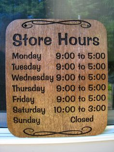 Store Hours Sign by WearhouseIndustries on Etsy, $24.00