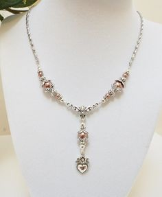 Wedding Jewelry, Prom Jewelry, Necklace, Pink Glass Pearls, Fashion Silver Heart Necklace, Sterling Silver Toggle Clasp Necklace