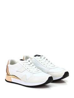 Crime - Sneakers - Donna - Sneaker in pelle effetto vintage e tessuto vintage con suola in gomma. Tacco 30, platform 20 con battuta 10. - WHITE\CIPRIA - € 129.00