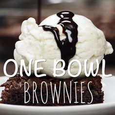 One Bowl Brownies. The perfect fudge-y, chocolatey, gooey, thick brownies you'll ever taste. Plus, you only need one bowl to make them! Easy Cake Recipes, Brownie Recipes, Easy Desserts, Baking Recipes, Sweet Recipes, Delicious Desserts, Snack Recipes, Yummy Food, Snacks