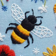 You'll be pleased to know...... there is going to be a #new embroidery kit available tomorrow evening and features lots of lovely #bees and #wildflowers - perfect for stitching in the #sunshine ☀️