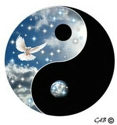 yin yang symbol with white dove and stars Arte Yin Yang, Yin Yang Art, Symbole Ying Yang, Jing Y Jang, Ying Yang Wallpaper, Ying Yang Symbol, Yin Yang Balance, Yin Yang Designs, Yin Yang Tattoos