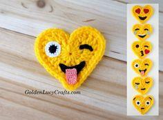 Crazy Face Crochet Emoji, Valentines, heart shaped - GoldenLucyCrafts